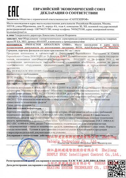 Профактор сантехника декларация